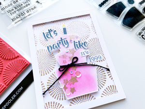 Pink Birthday Cake over Dotted Bursts background stamp