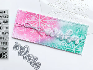 Wishes over Embroidered Snowflake ink blended slimline card