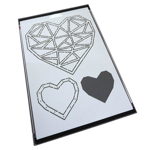 Faceted Heart Trio Stencil