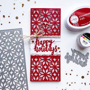 Cranberry Fizz Happy Holidays DieCut over FolkStar Slimline