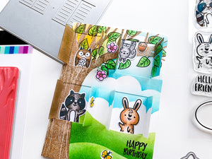 Critter Crew animals in window frames tree home