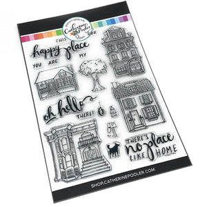 House clear stamp set with fun bold sentiments with builder phrases