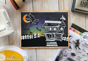 Halloween scenic card by Catherine Pooler using Spooky Hollow Clear Stamps and Craft Dies