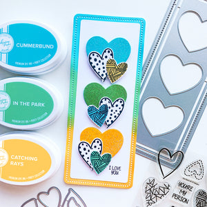 Heart Trio Cutout hearts embossed in cummerbund, in the park and touch of lemon