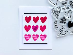 Hip Hearts Stamped in Reds and pinks grid I Love you Card