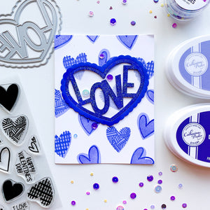 Blue Love In Heart over blue heart stamped background