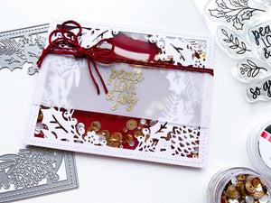 Holly Framed Cover Plate Die Shaker Card over Cranberry Fizz background and Oak City Sequins