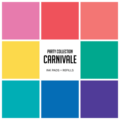 Party Collection : Carnivale Ink Pads & Refills Bundle 8 Colors