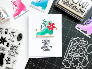 Mint Ice Skate with Poinsettia on white card base