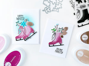 2 cards with purple blended ice skates and sprigs and branches sticking out