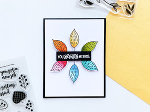 Rainbow leaves around You Brighten My Day card