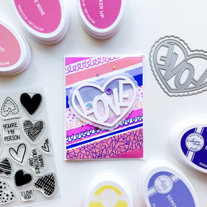 Love in Heart over stamped patterned background