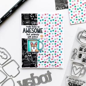 Awesome Today Dog Mug over patterned paper
