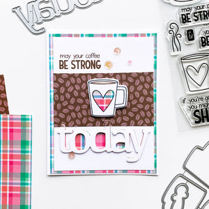 Plaid mug heart over bean patterned paper and  plaid background