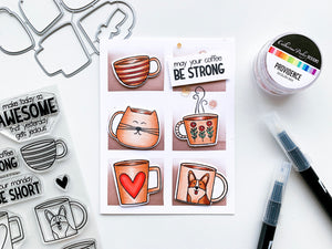6 block color blended card with mugs and sentiment May your coffee be strong