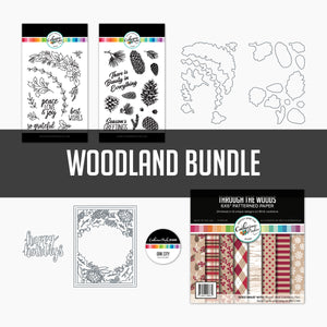 Woodland Bundle stamps, dies, paper and sequins