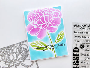 Peony stencil blended