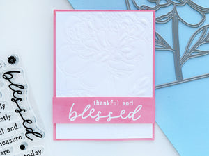 Dry embossed Peony Cover Plate with pink blessed sentiment strip