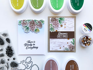 Two cards with Pinecone Greetings layered from tops