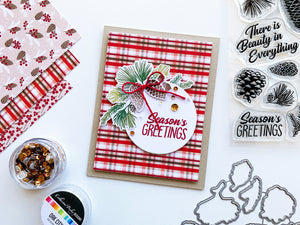 Pinecone Greetings pinecones layered on a plaid paper card