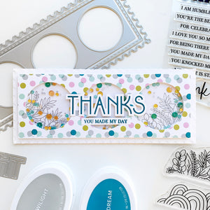 Deco Thanks on circle cut out slimline shaker card