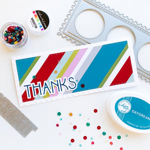 Deco Thanks on red, green, blue, white slimline card