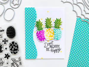 Three pineapples with patterned paper edge
