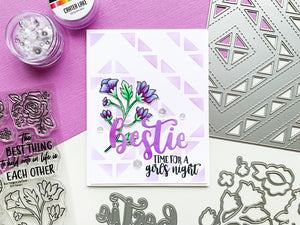 Purple Bestie with purple quilted background with purple best things in life floral
