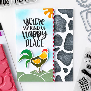 Happy Place Rooster with Moo-velouse Stripe