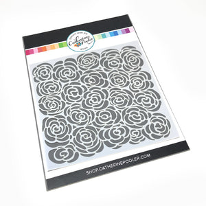 whimsical rose stencil pattern by catherine pooler designs