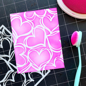Pink blended Scribbled Hearts Background