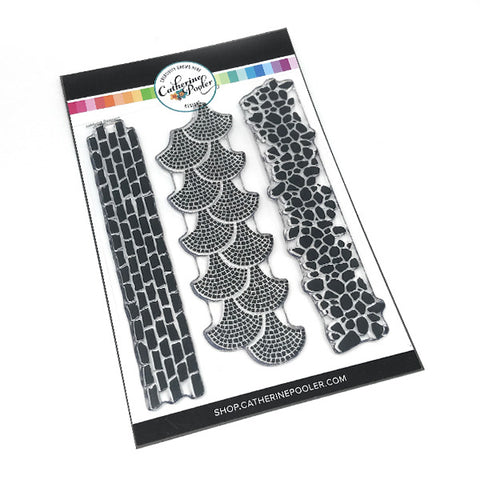 A clear stamp set with Stone border stamp images that interlock for easy backgrounds and pathways