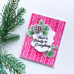 Pinecone over Sweater Weather pink based card