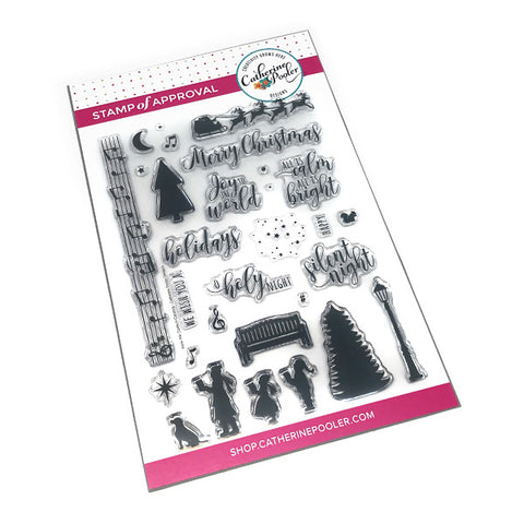 Christmas Carolers and scenic builder set with hand lettered sentiment clear stamp set