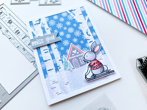 Skiing Bunny with White Birch Die and Alpine Village House Scene Card