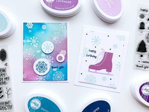 2 cards shades of purple snowflakes and ice skates