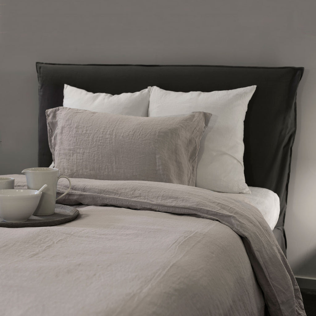 grey linen pillow set