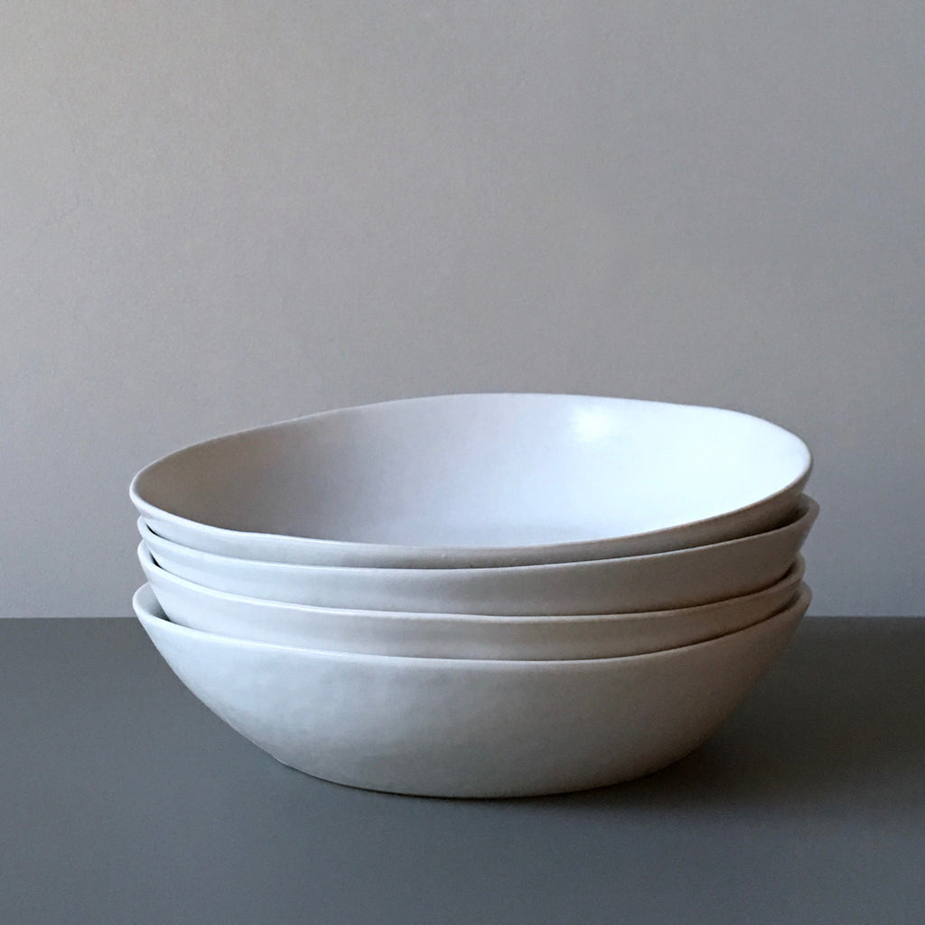 Simple, matte white glazed dinnerware