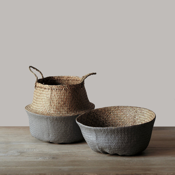 grey folding basket with handles