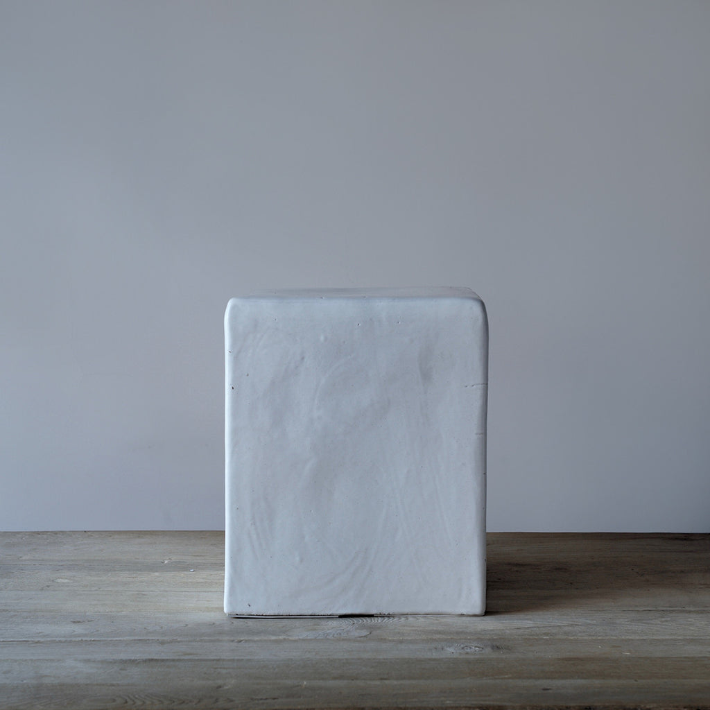 ... White Ceramic Stool / Side Table ...