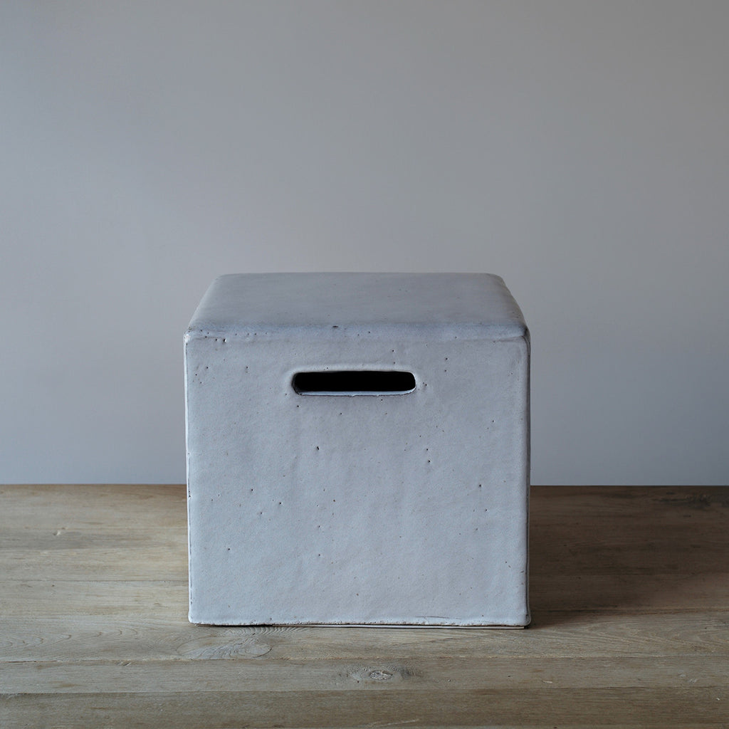 White Ceramic Stool / Side Table ...