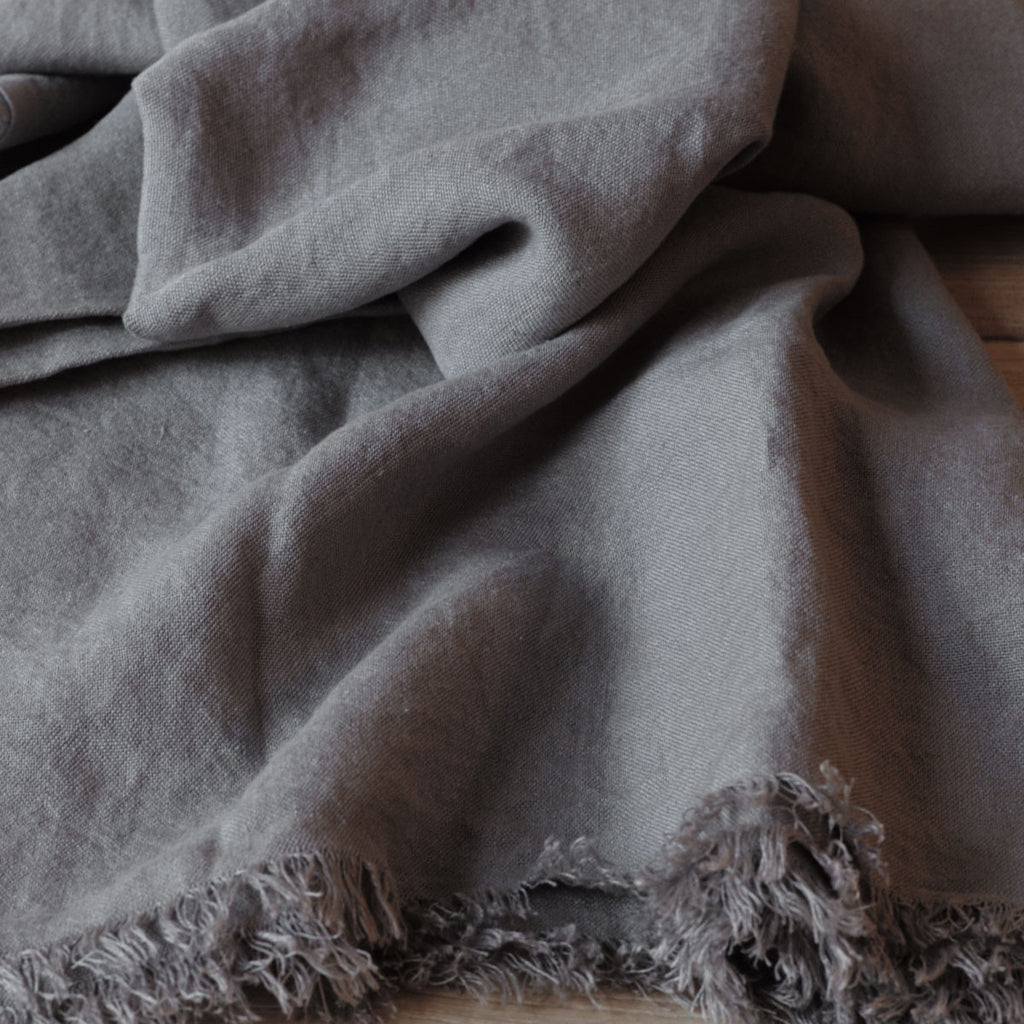 grey linen throw