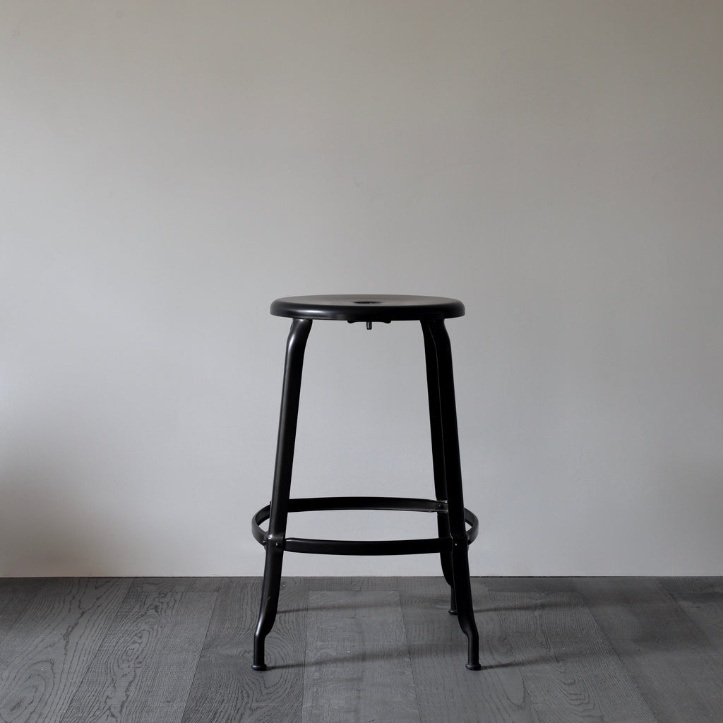 black industrial counter stool