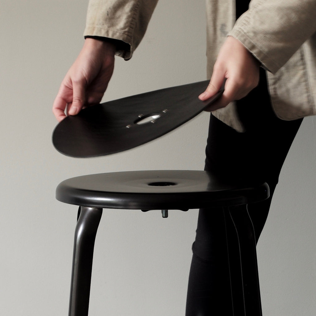 black industrial counter stool INSTORE