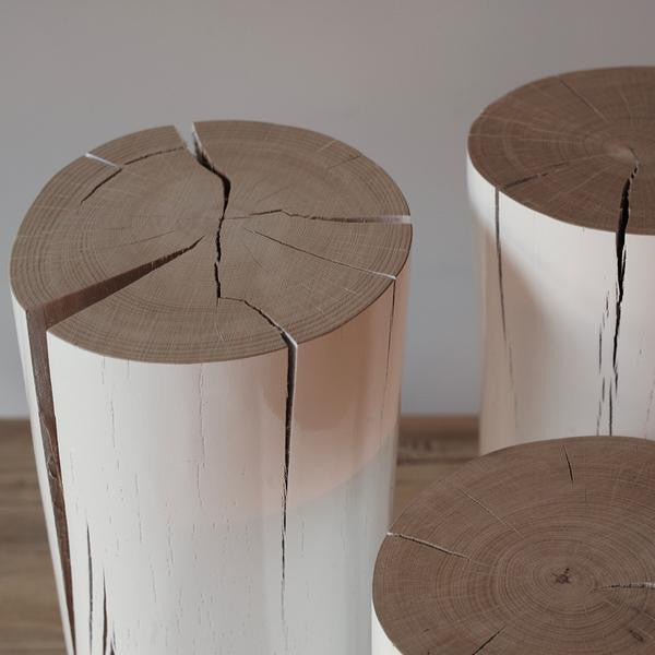 white wooden log - side table