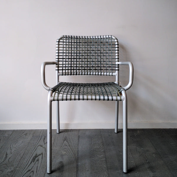 grey aluminum chair