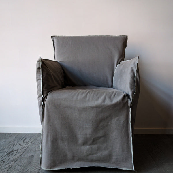 grey 'ghost' chair with arms