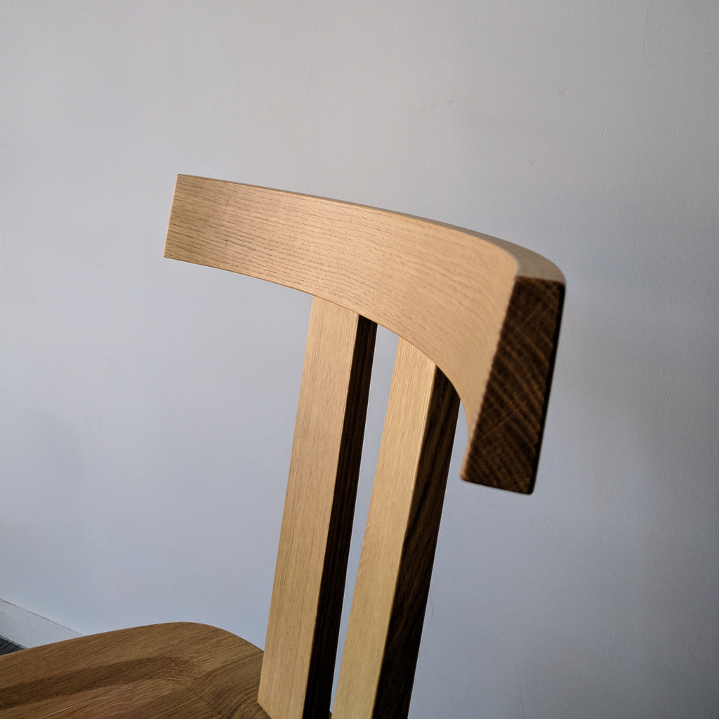 """Gray 23"" solid oak chair"