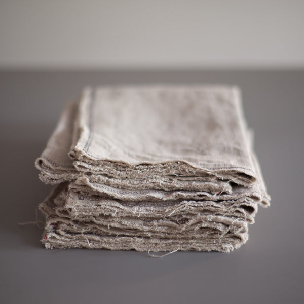 raw linen napkin set