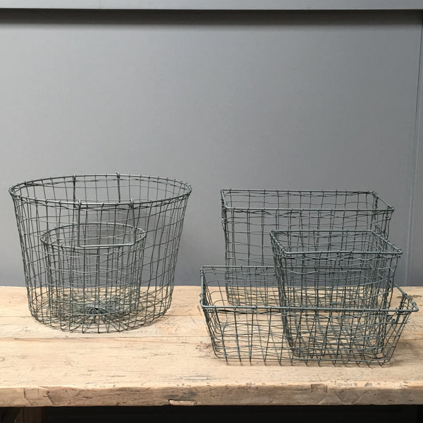 gray green wire containers